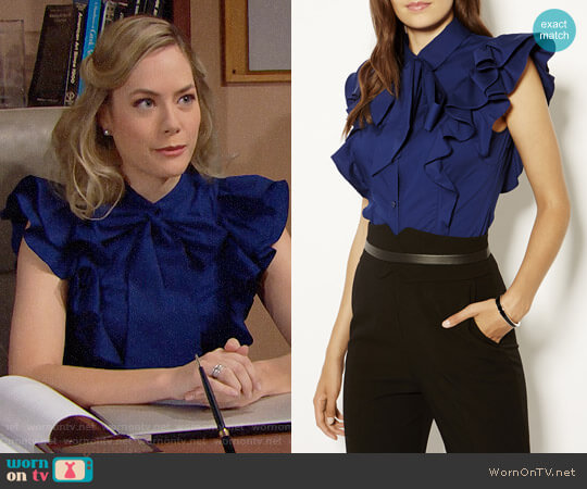 Karen Millen Pussy Bow Frill Shirt worn by Hope Logan (Annika Noelle) on The Bold & the Beautiful