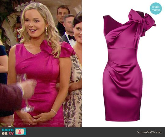 Karen Millen Satin One Shoulder Dress worn by Jennifer Gareis on The Bold & the Beautiful