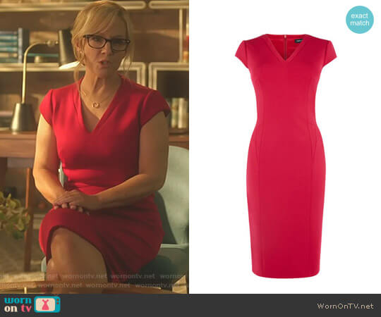 V-Neck Pencil Dress by Karen Millen worn by Linda Martin (Rachael Harris) on Lucifer