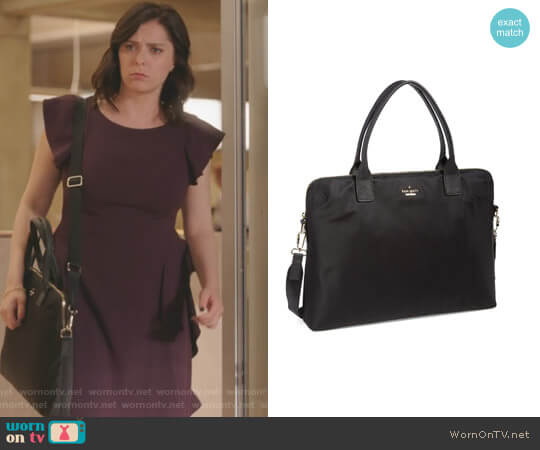 'Daveney' Laptop Bag by Kate Spade worn by Rebecca Bunch (Rachel Bloom) on Crazy Ex-Girlfriend