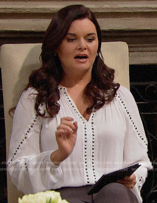 Katie's white studded top on The Bold and the Beautiful