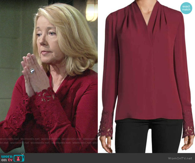 Kobi Halperin Maura Blouse worn by Nikki Reed Newman (Melody Thomas-Scott) on The Young & the Restless