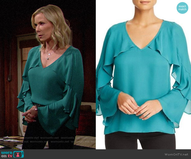 Kobi Halperin Ryann Blouse in Sea Green worn by Brooke Logan (Katherine Kelly Lang) on The Bold & the Beautiful