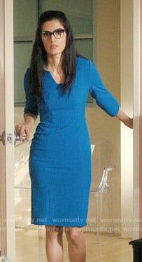 Krishna's blue sheath dress on Jane the Virgin
