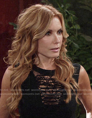 Lauren's black lace panel lace-up top on The Young and the Restless