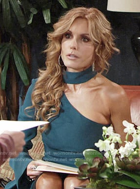 Lauren's teal green one-shoulder top on The Young and the Restless