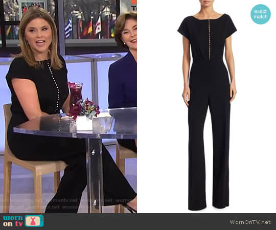 Short Sleeve Pearl Jumpsuit by Lela Rose worn by Jenna Bush Hager on Today
