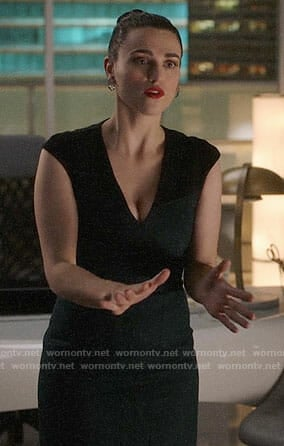 Lena's teal v-neck sheath dress on Supergirl