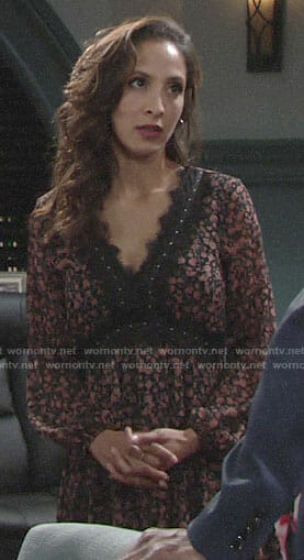 Lily's floral lace-trimmed dress on The Young and the Restless