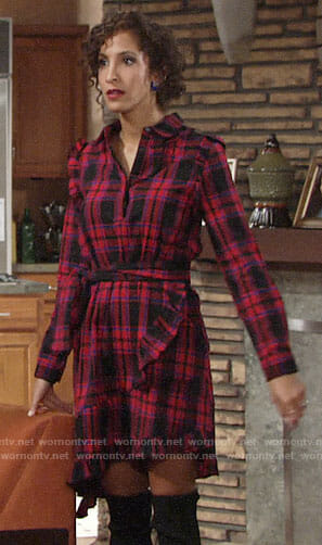 Lily's plaid ruffle trim shirtdress on The Young and the Restless