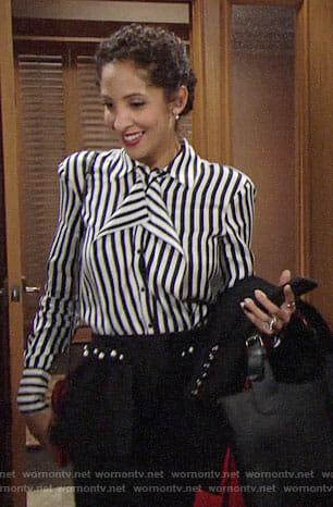 Lily's striped ruffled blouse and pearl embellished skirt on The Young and the Restless