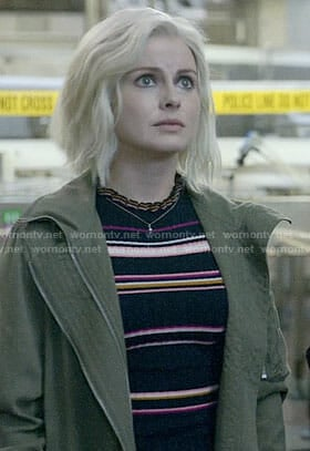 Liv's striped top with ruffle neck on iZombie