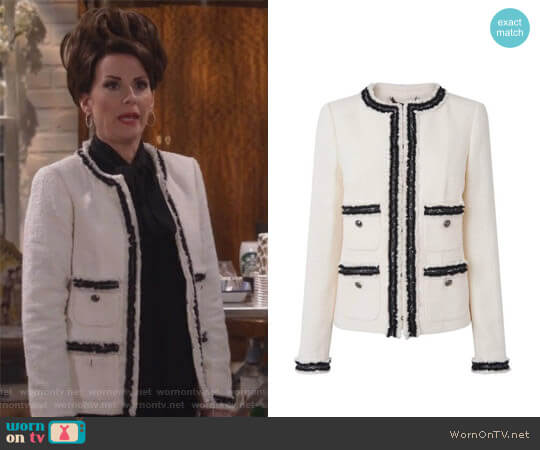Charl Cream Boucle Jacket by L.K. Bennett worn by Megan Mullally on Will & Grace