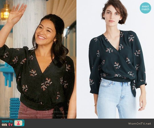Madewell Poppy Print Silk Wrap Blouse worn by Gina Rodriguez on Jane the Virgin
