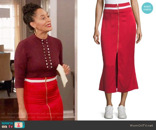 Maggie Marilyn Focus on the Good Flared Midi Satin Skirt worn by Rainbow Johnson (Tracee Ellis Ross) on Blackish