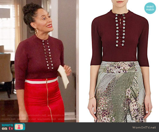 Maison Mayle Renee Rib-Knit Wool-Silk Henley worn by Rainbow Johnson (Tracee Ellis Ross) on Blackish