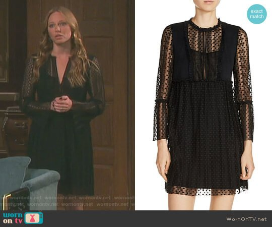 'Rezane' Swiss Dot Dress by Maje worn by Marci Miller on Days of our Lives