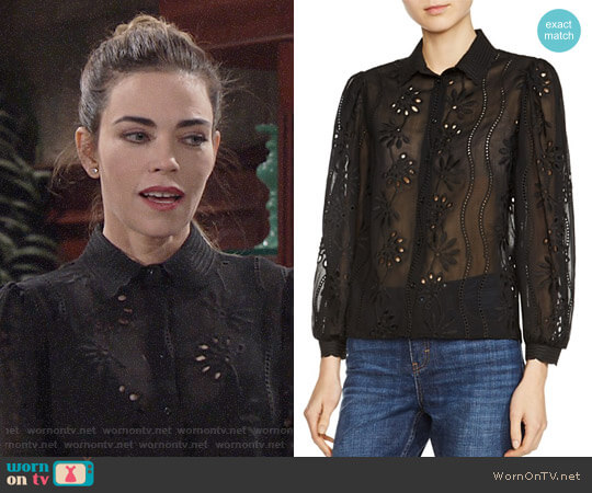 Maje Calek Shirt worn by Victoria Newman (Amelia Heinle) on The Young & the Restless