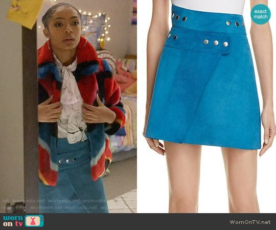 Maje Joseph Suede Skirt worn by Zoey Johnson (Yara Shahidi) on Grown-ish