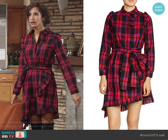 Maje Randra Plaid Dress worn by Lily Winters (Christel Khalil) on The Young & the Restless