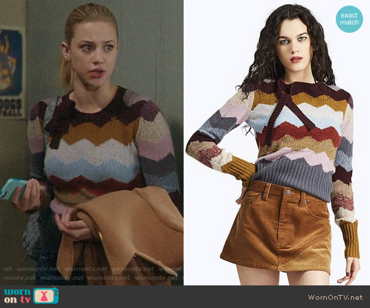 Marc Jacobs Chevron Intarsia Cashmere Sweater worn by Lili Reinhart on Riverdale