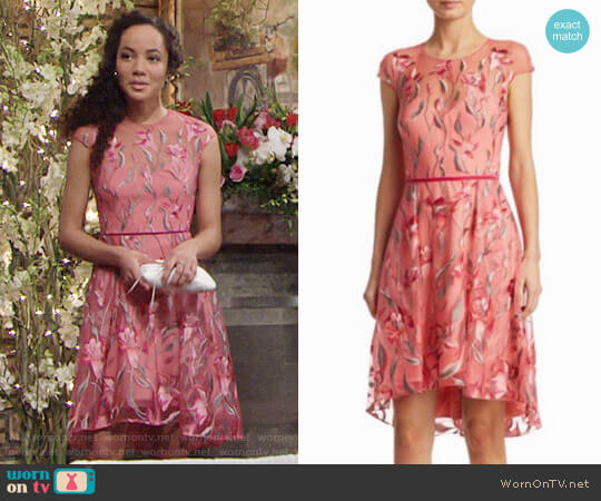 Marchesa Embroidery Fit and Flare Dress worn by Mattie Ashby (Lexie Stevenson) on The Young & the Restless