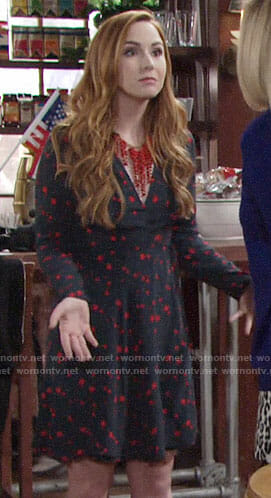 Mariah's navy and red star print dress on The Young and the Restless