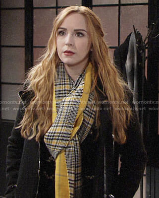 Mariah's yellow plaid scarf on The Young and the Restless
