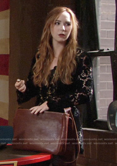 Mariah's black lace romper on The Young and the Restless