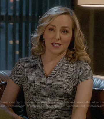Marissa's grey checked v-neck dress on Bull