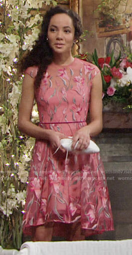 Mattie's pink embroidered Valentines Day dress on The Young and the Restless