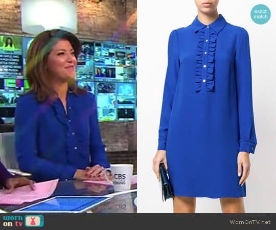 Ruffle Front Shirt Dress by MICHAEL Michael Kors worn by Norah O'Donnell on CBS This Morning