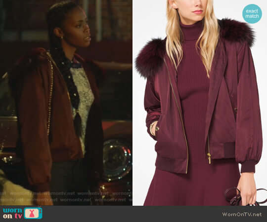 Fur-Trimmed Bomber Jacket by Michael Michael Kors worn by Anissa Pierce (Nafessa Williams) on Black Lightning
