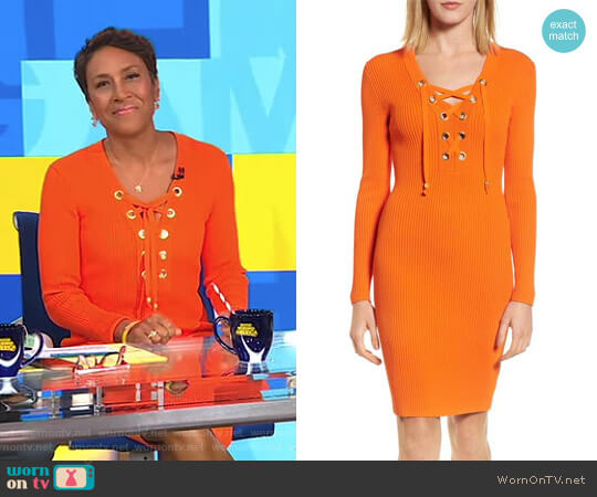 Lace-Up Ribbed Dress by MICHAEL Michael Kors worn by Robin Roberts on Good Morning America