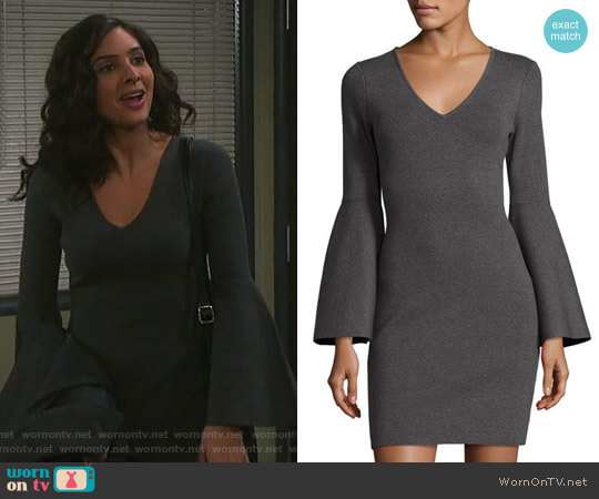 V-Neck Bell-Sleeve Stretch-Knit Minidress by Milly worn by Camila Banus on Days of our Lives