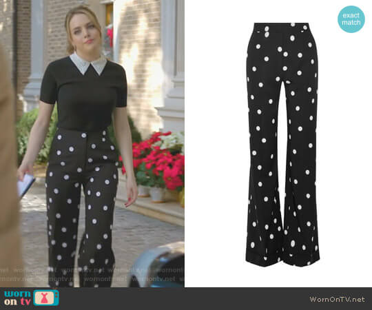 Polka-Dot Wide-Leg Pants by Monse worn by Fallon Carrington (Elizabeth Gillies) on Dynasty