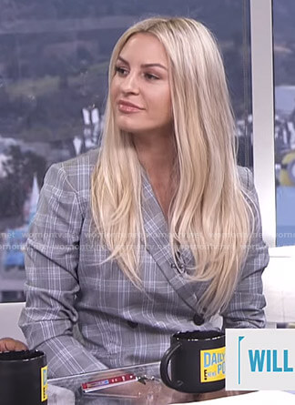 Morgan's grey plaid blazer dress on E! News Daily Pop