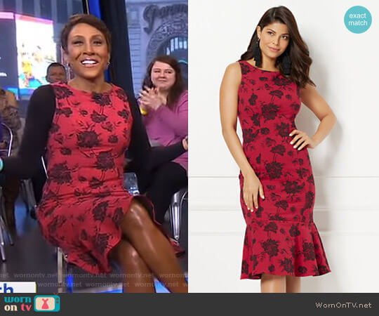Eva Mendes Collection Isadora Jacquard Sheath Dress by New York & Company worn by Robin Roberts on Good Morning America