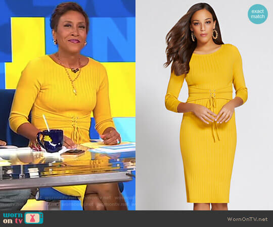Gabrielle Union Collection Corset Sweater Dress by New York & Company worn by Robin Roberts on Good Morning America