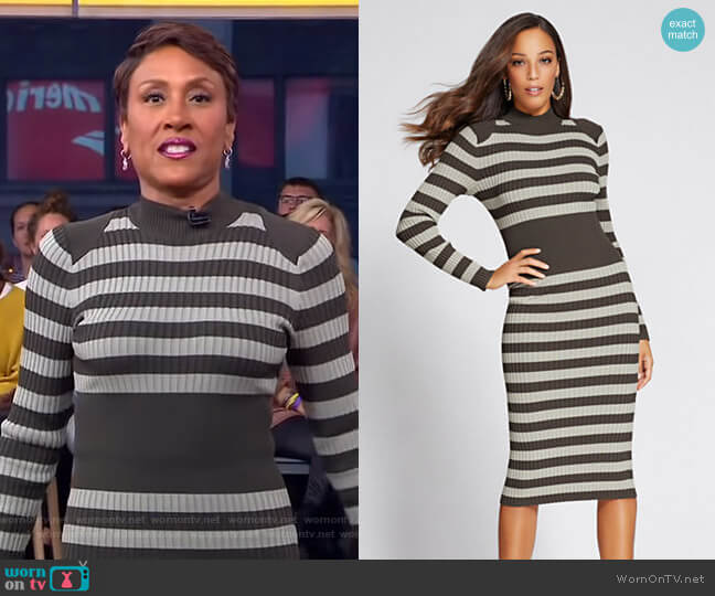 Gabrielle Union Collection Mock Neck Sweater Dress by New York & Company worn by Robin Roberts on Good Morning America
