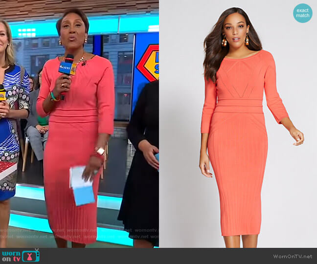 Gabrielle Union Collection Stitched Sweater Dress by New York & Company worn by Robin Roberts  on Good Morning America