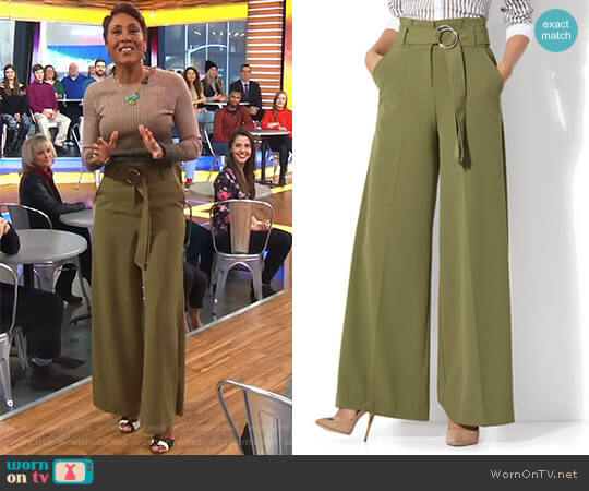Paperbag Waist Palazzo Pant by New York & Company worn by Robin Roberts on Good Morning America
