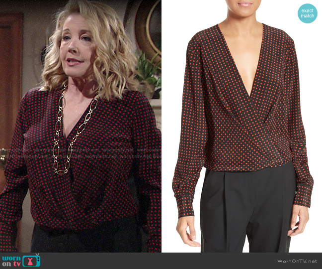 Diane von Furstenberg Dot Print Silk Drape Front Blouse worn by Nikki Reed Newman (Melody Thomas-Scott) on The Young & the Restless