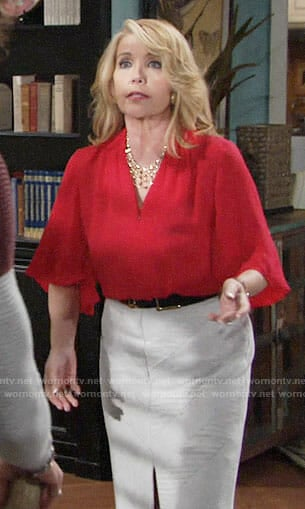 Nikki's red v-neck blouse on The Young and the Restless