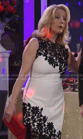Nikki's black and white Valentines Days dress on The Young and the Restless