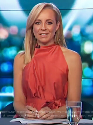 Carrie's orange sleeveless asymmetric top on The Project