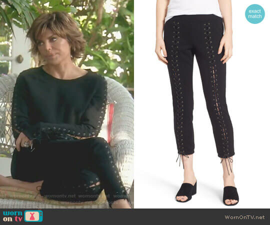 Lace-Up Crop Sweatpants by Pam & Gela worn by Lisa Rinna  on The Real Housewives of Beverly Hills