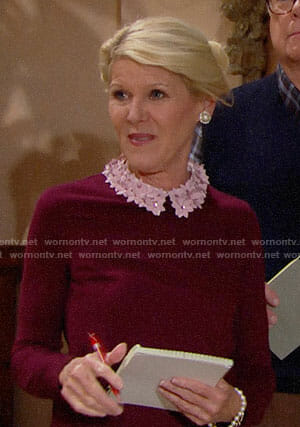 Pam's burgundy sweater with pink floral collar on The Bold and the Beautiful