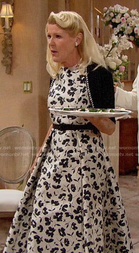Pam's black and white floral gown on The Bold and the Beautiful
