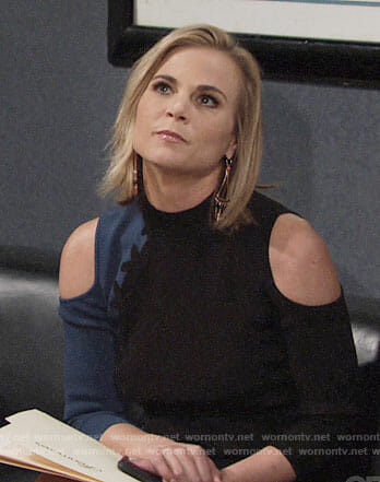 Phyllis's black and blue cold-shoulder dress on The Young and the Restless
